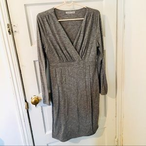 Athleta Grey Knit Dress Size Medium v neck wrap